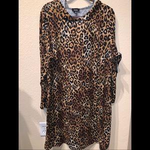 TACERA hooded leopard sweatshirt dress